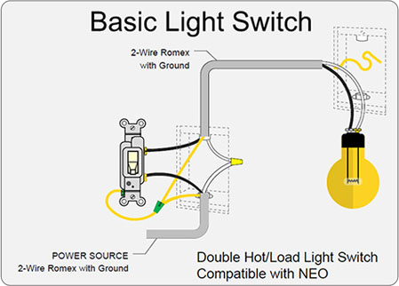 Diagram of basic light switch that works with NEO Light Switch: